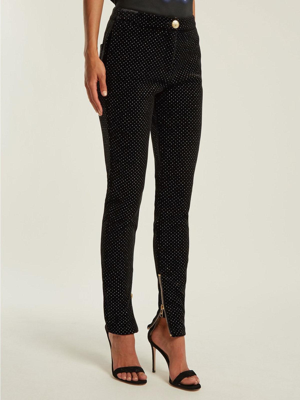 High-Waisted Velvet Skinny Trousers