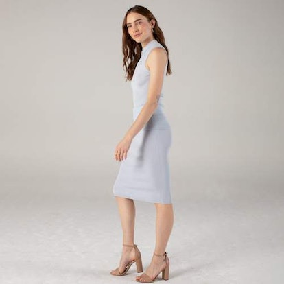Ribbed Pencil Skirt Powder Blue