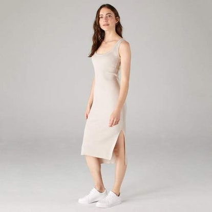Tank Dress with Side Slits Pebble