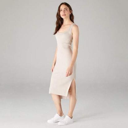Tank Dress with Side Slits Pebble