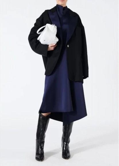 Bonded Satin High Waisted Draped Skirt
