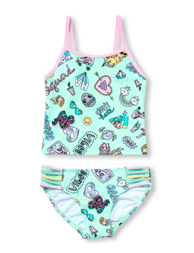 Girls Doodle Print Two Piece Tankini Swimsuit