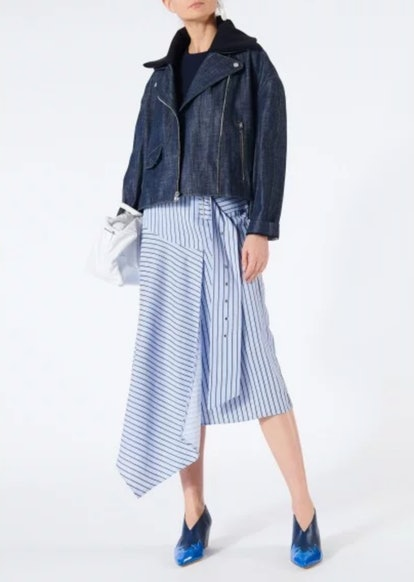 Raw Denim Oversized Cropped Moto Jacket with Removable Collar