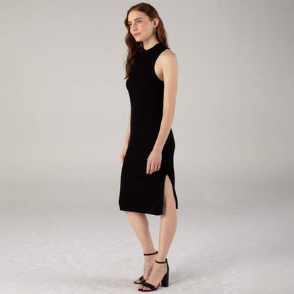 Ribbed Mockneck Racerback Dress Black