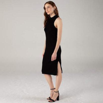 Ribbed Mockneck Racerback Dress Black