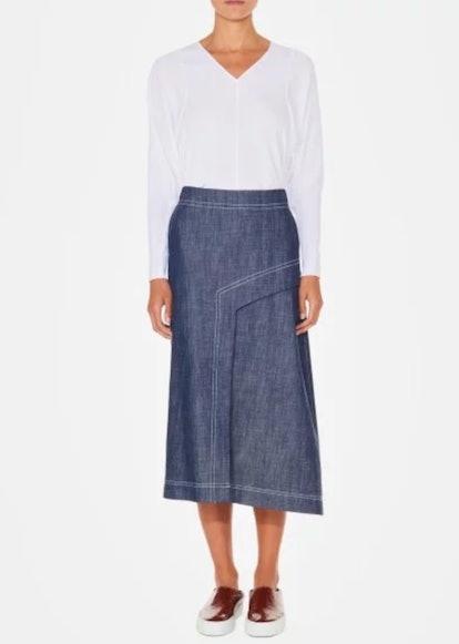 Raw Denim Draped Skirt