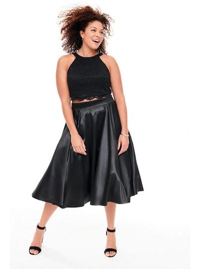 Black Lace & Satin Skirt 2-Piece Set