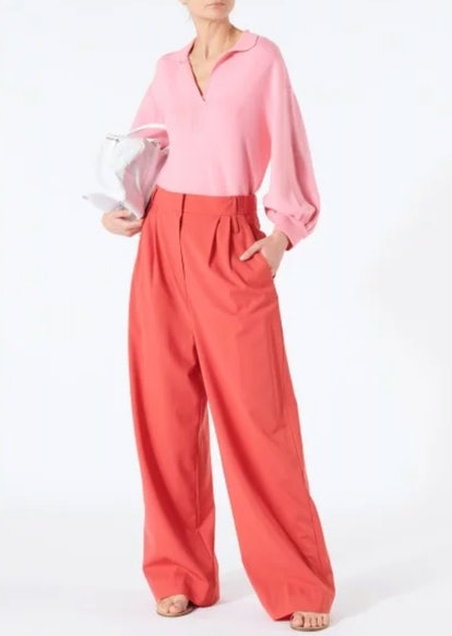 Tropical Wool Stella Wide Leg Paper Bag Pants with Removable Belt