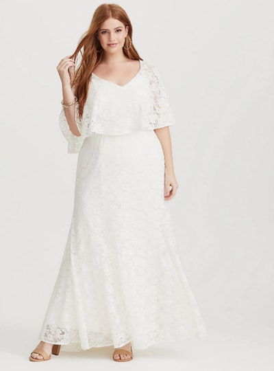 Ivory Lace Capelet Formal Gown