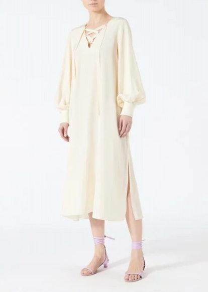 Silk Tie Front Tunic Dress