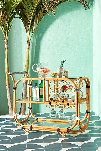 Wrapped Rattan Indoor/Outdoor Bar Cart