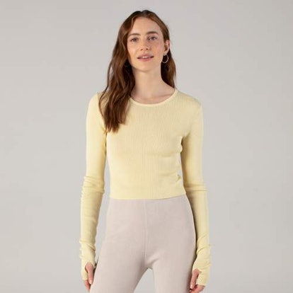Long Sleeve Ribbed Crop Top Banana