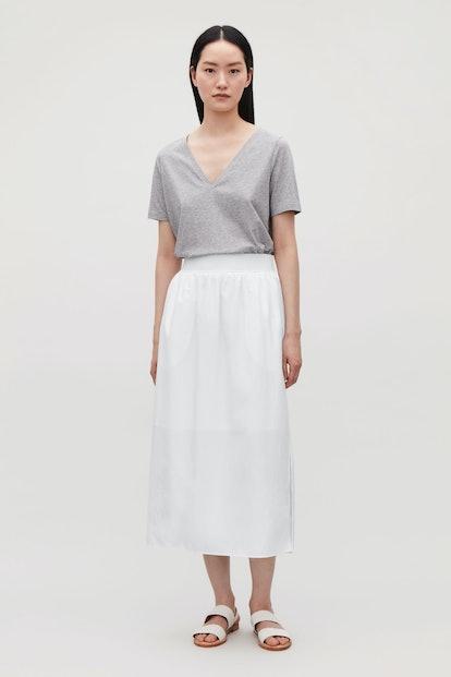 Wide-Elastic Cotton Skirt