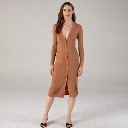 Long Sleeve Cardigan Dress Dark Ginger