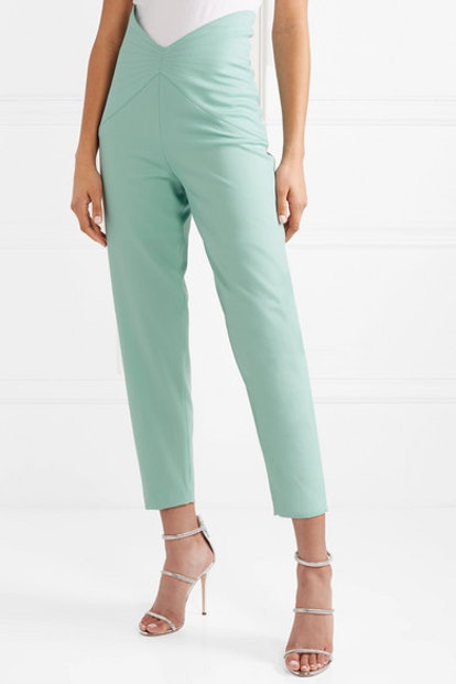 Wool-Blend Gabardine Tapered Pants
