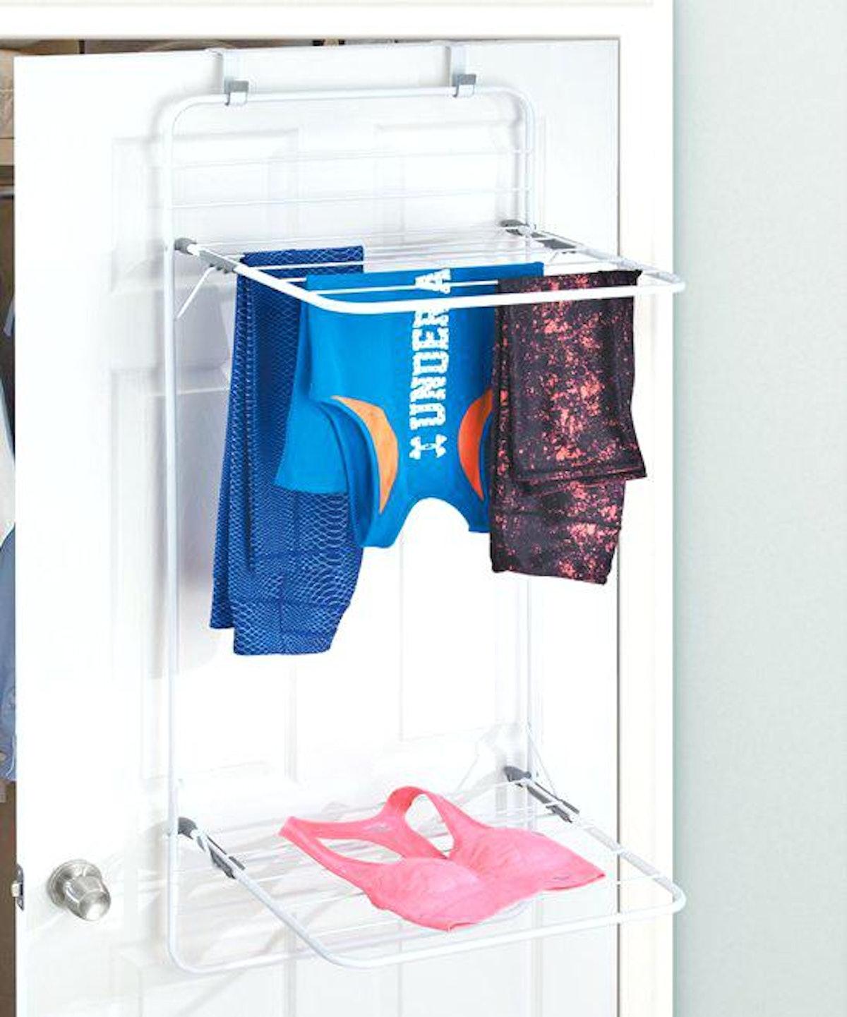 mDesign Over Door Laundry Drying Rack