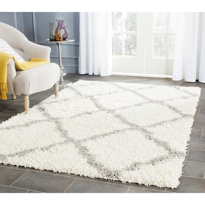 Safavieh Dallas Shag Ivory/ Grey Trellis Rug