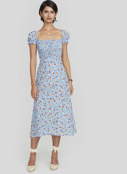 Jasmine Floral Print - Blue - Castilo Midi Dress