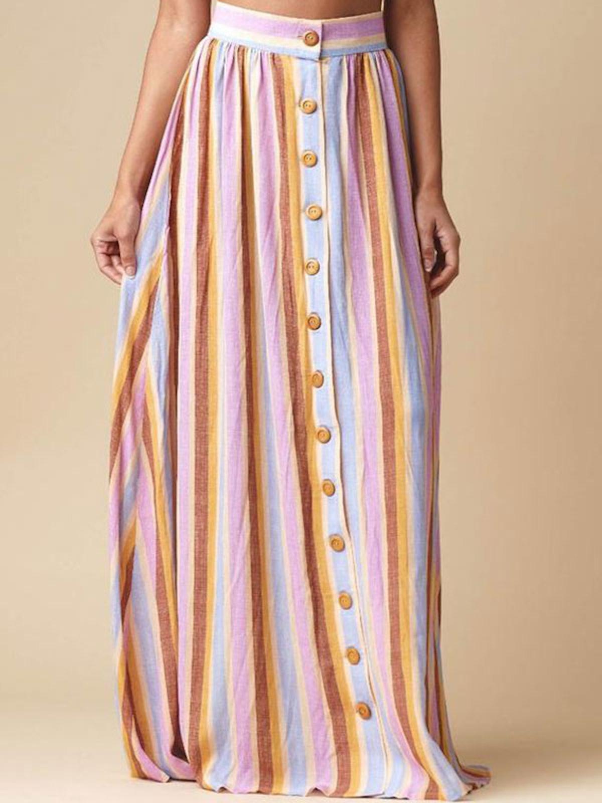 Mallorca Stripe Cotton Edith Skirt