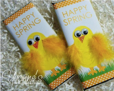 Easter Chocolate Bar with Yellow Chick Feathers
