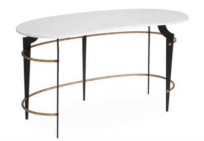Bixler Desk, White/Gold