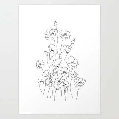 Poppy Flowers Line Art