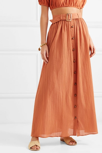 Belted Cotton-Gauze Maxi Skirt