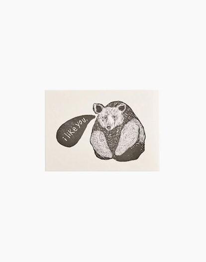 EMILY ELIZABETH MILLER Letterpress I Like You Bear Card