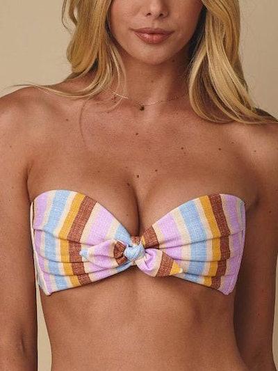 Mallorca Stripe Cabana Strapless Bikini Top