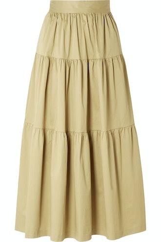 Sea Tiered Poplin Midi Skirt