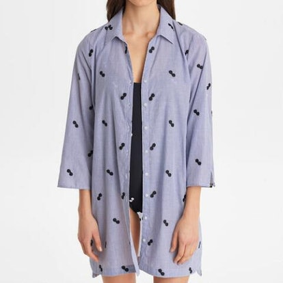 Embroidered Button Front Swim Cover Up