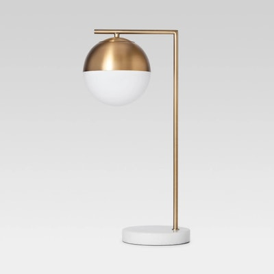 Geneva Glass Globe with Marble Base Task Lamp Brass — Project 62