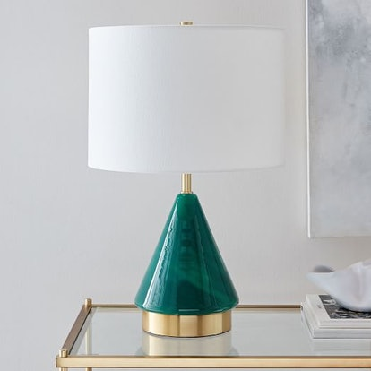 Metalized Glass Table Lamp + USB - Small (Green)