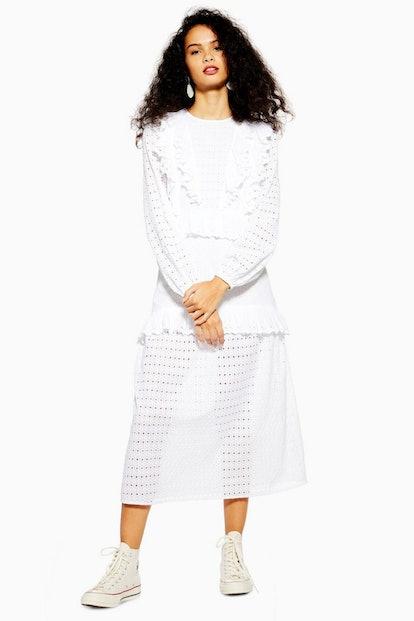 Ivory Broderie Frill Midi Dress