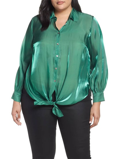 Button Down Tie Front Iridescent Blouse