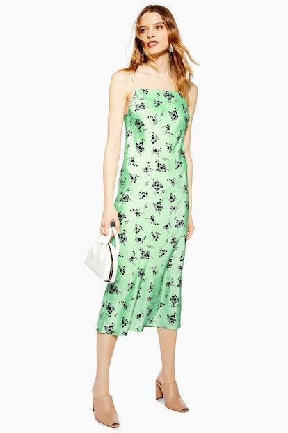 Apple Satin Bias Slip Dress