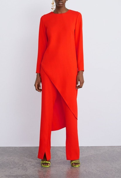 Long Asymmetric Top & Pants With Side Vents
