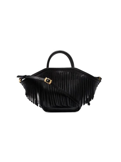 Black Small Leather Fringed Tote Bag