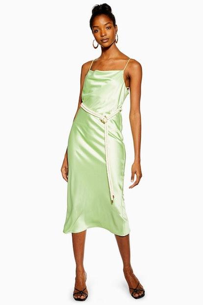 Green Rope Belt Midi Slip Dress