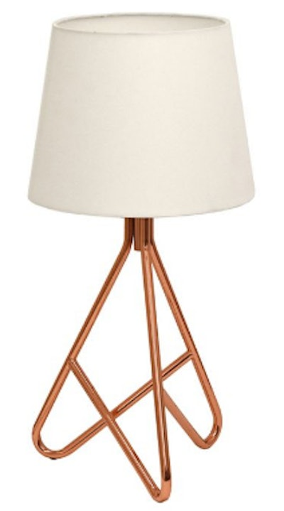 Geometric Table Lamp in Rose Gold with White Linen Shade
