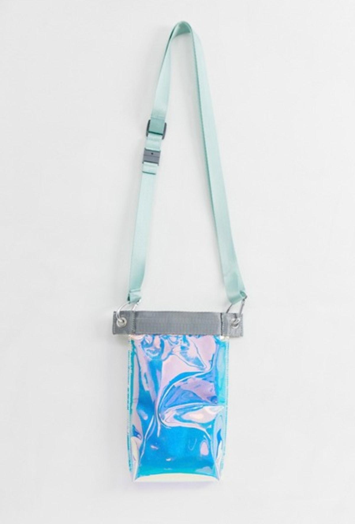 ASOS DESIGN iridescent neck wallet with lanyard