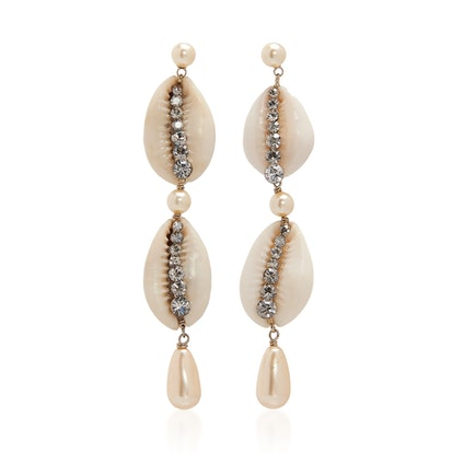 Shell, Crystal And Faux Pearl Earrings