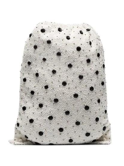 Wintour Sequin Embellished Polka-Dot Drawstring Bag