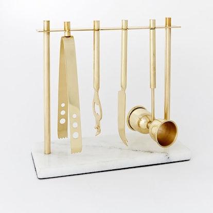Deco Bar Tools Set - Brass + Marble