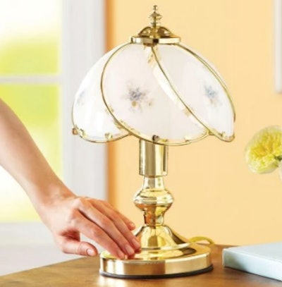 Better Homes & Gardens Floral Glass Shade Table Touch Lamp