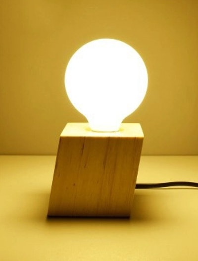 Industrial Mimi Table Lamp with Diamond Shape Base in wood