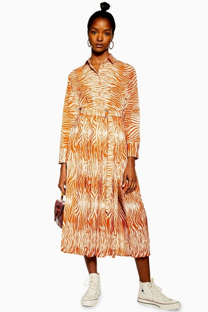 Zebra Pleated Shirt Dress