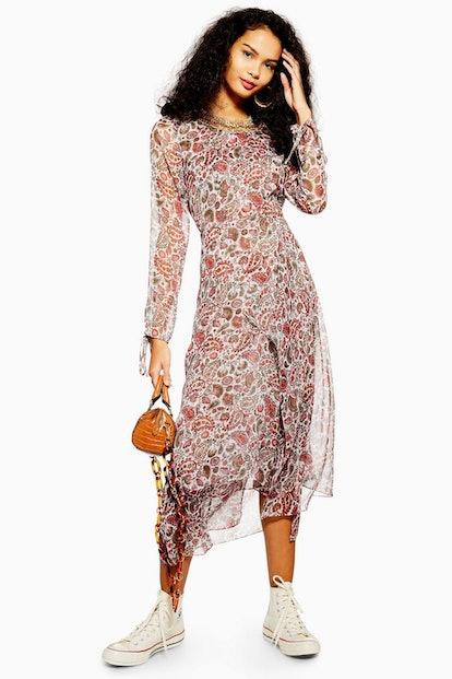 Paisley Embroidered Midi Dress