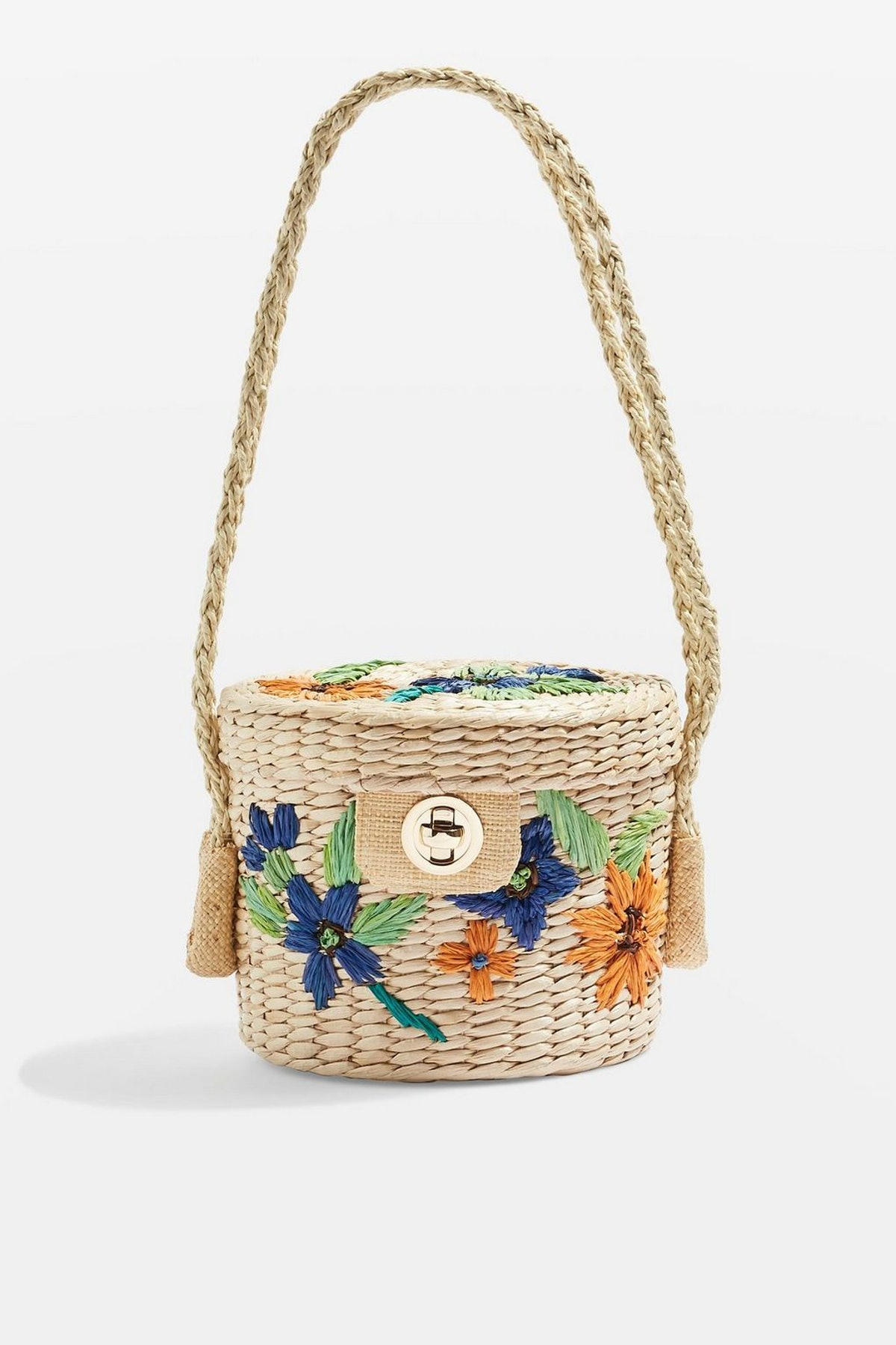 Fable Embroidered Straw Buckle Bag