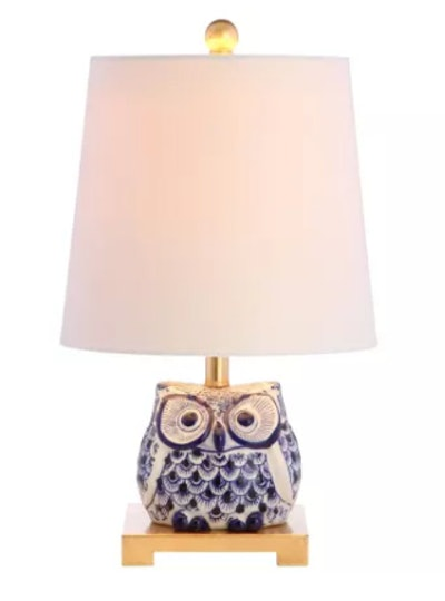 "Justina Single Light 16"" Tall LED Animal Table Lamp with Hardback Cotton Shade"